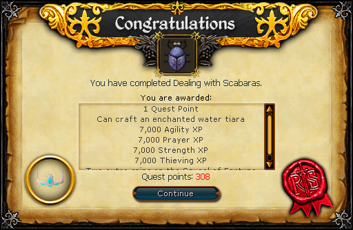 Congratulations! You have completed Dealing With Scabaras!