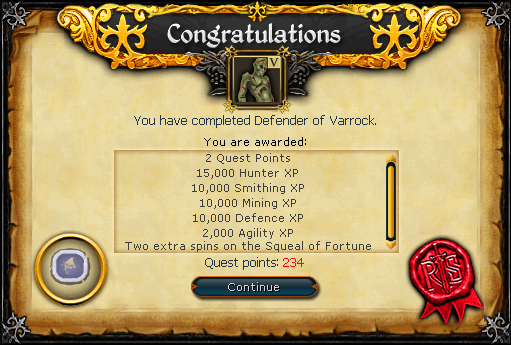 Congratulations! You have completed Defender of Varrock.