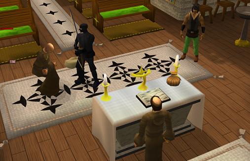 A Ninja assassin killing the monks.