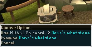 Use Mithril 2h sword on Doric's Whetstone