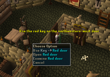 The red key will unlock red doors - go through the northwest-most door.