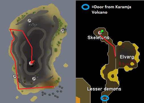 Map of the route to the Crandor Dungeon entrance