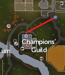 A map of routes to the Champions' Guild.