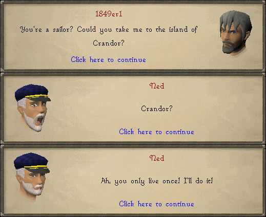 Ned: Crandor? ah, you only live once! I'll do it!