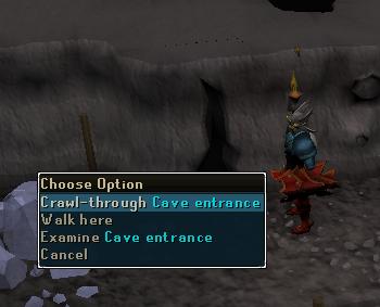 Crawl through cave entrance