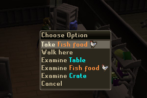 Take the Fish Food from the table