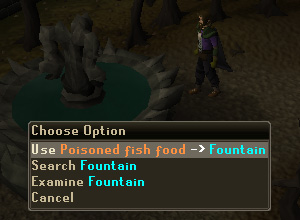 Use the Poisoned Fish Food with the Fountain