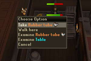 Take the Rubber Tube from the table. Beware of the aggressive Skeleton!
