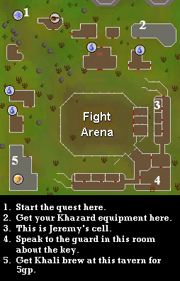 Fight Arena - Map of important quest locations