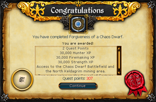 Conratulations, Forgiveness of a Chaos Dwarf quest complete!