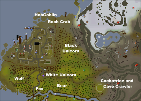 Click to view a full-sized map of creature locations.