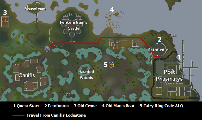 Map of helpful quest areas