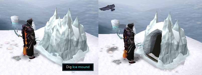Dig ice mound