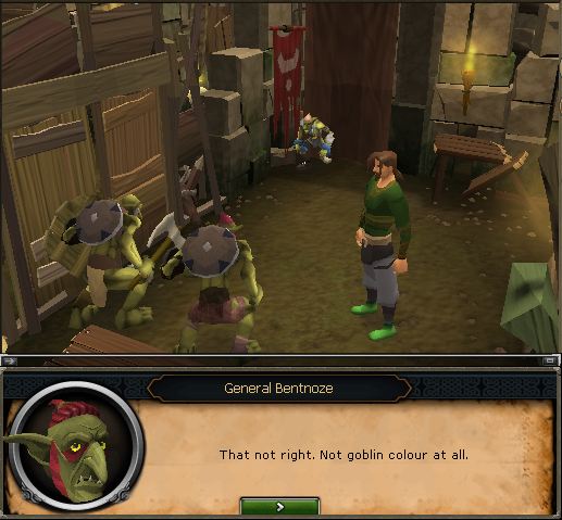 And there's Grubfoot trying on some blue goblin mail