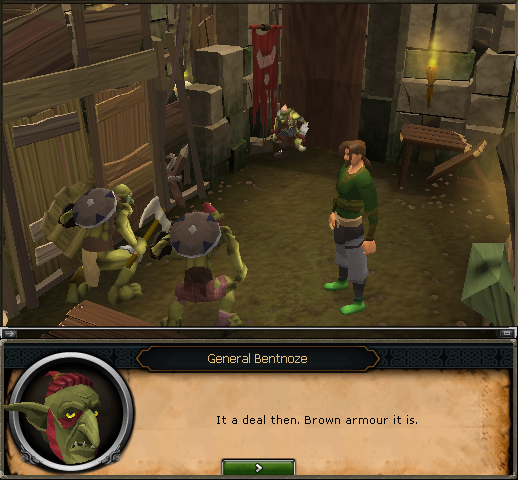 That's Grubfoot trying on some brown goblin mail