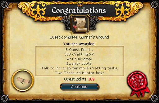 Congratulations! Quest complete: Gunnar's Ground