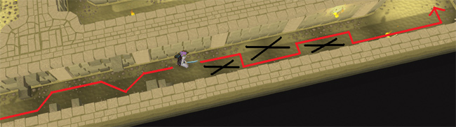 Red Line: Safe Path; Black X's: Traps