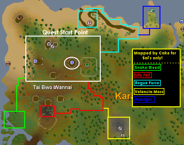 A map of important quest locations
