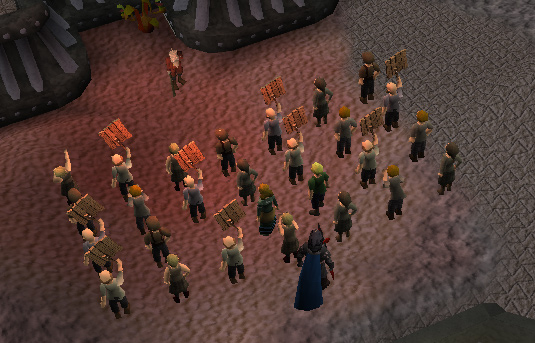 King of the Dwarves - A much larger group of protesters
