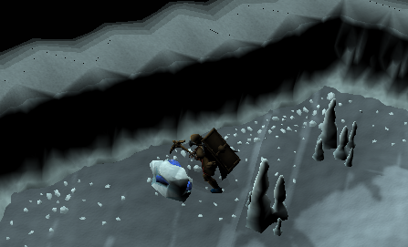 Mining Blurite Ore from the Ice Cavern