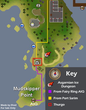 A map of routes to Thurgo