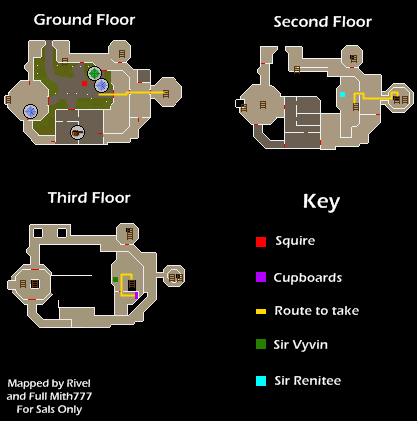 A map of the White Knights' Castle floors