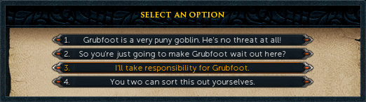 "Select ""I'll take responsibility for grubfoot"""