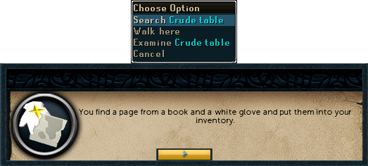 You find a page from a book and a white glove and put them into your inventory.