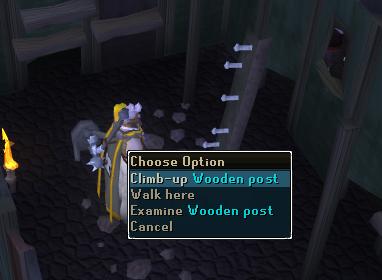 Climb up wooden post