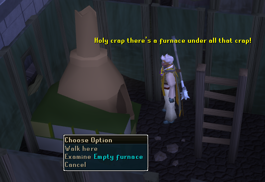 Examine empty furnace