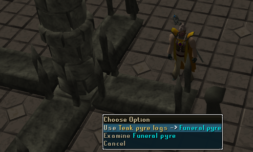 Use Yew Pyre Logs -> Funeral Pyre
