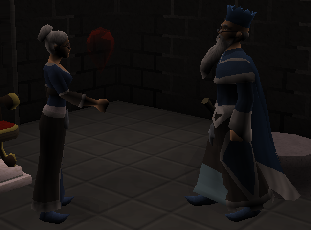 The Wise Old Man and Zenevivia talking about robbing the Wizards' Tower