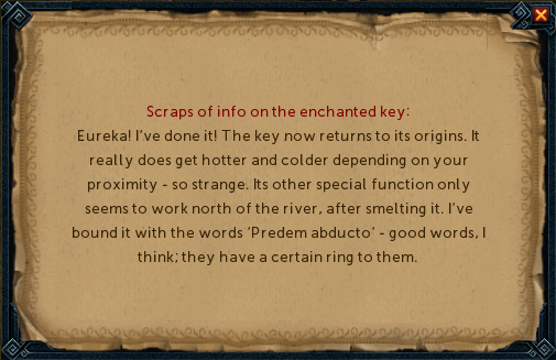 Scraps of info on the enchanted key
