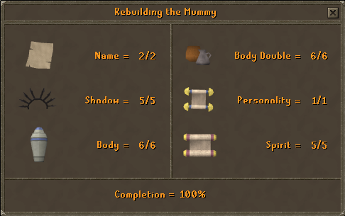 Rebuilding the Mummy (Completion = 100%)