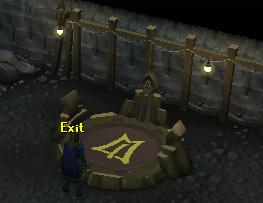 Exit the hangar via the portal