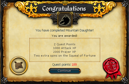 Mountain Daughter Quest complete!