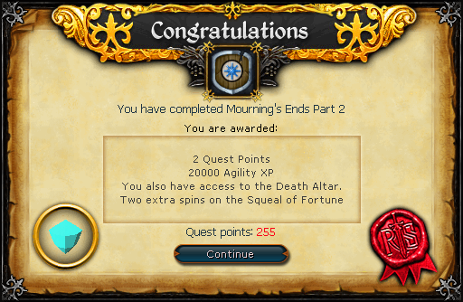 Congratulations! You have completed Mourning's Ends Part 2