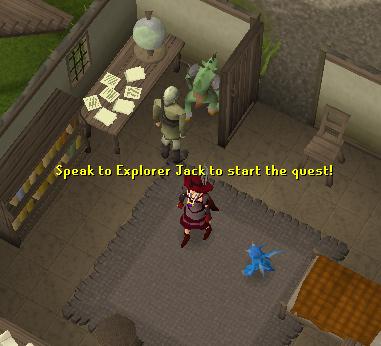 Talk to explorer jack to begin