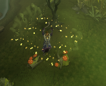 Casting the bloom spell near some logs