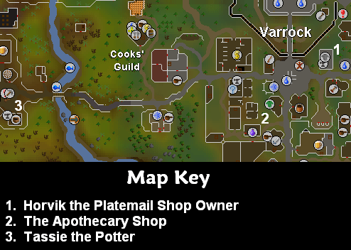 Map of important locations in varrock and the bararian village