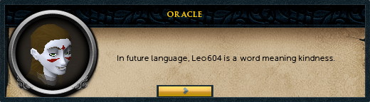 Oracle: In future language, [character name] is a word meaning kindness.