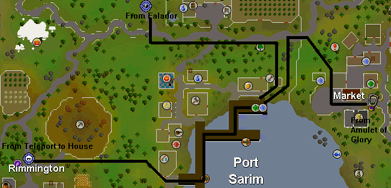 Map of routes to the Port Sarim dock