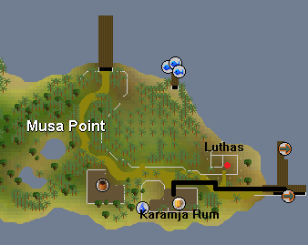 A map from the karamja dock to Zambo's store