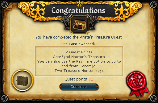 Congratulations! You have completed the Pirate's Treasure Quest!
