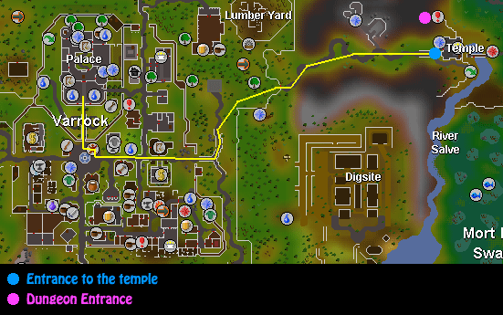 A map from the varrock palace to the temple