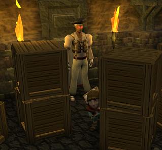 Golrana hiding behind a crate