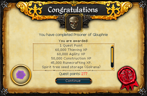 Congratulations! You have completed Prisoner of Glouphrie