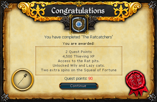 Congratulations! You have completed the Rat Catchers Quest!