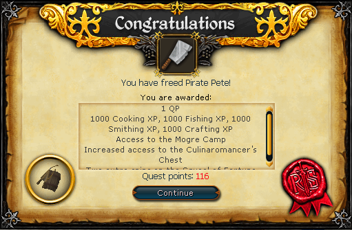 Congratulations, you have freed Pirate Pete!