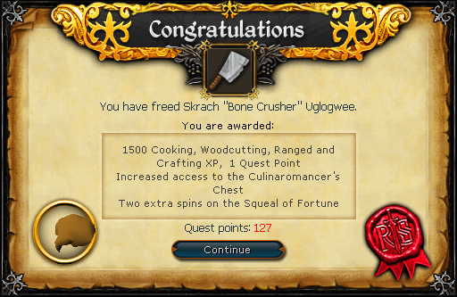 "Congratulations, you have freed Skrach ""Bone Crusher"" Uglogwee!"